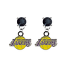 Los Angeles Lakers BLACK Swarovski Crystal Stud Rhinestone Earrings
