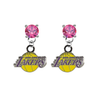 Los Angeles Lakers PINK Swarovski Crystal Stud Rhinestone Earrings