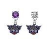 Phoenix Suns PURPLE & CLEAR Swarovski Crystal Stud Rhinestone Earrings