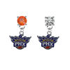 Phoenix Suns ORANGE & CLEAR Swarovski Crystal Stud Rhinestone Earrings