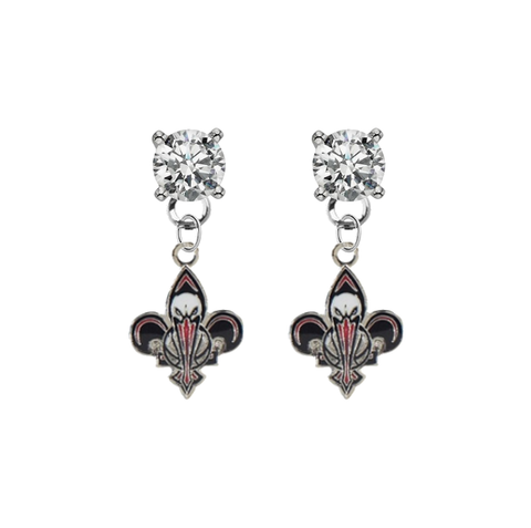 New Orleans Pelicans CLEAR Swarovski Crystal Stud Rhinestone Earrings