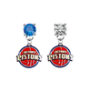 Detroit Pistons BLUE & CLEAR Swarovski Crystal Stud Rhinestone Earrings