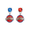 Detroit Pistons BLUE & RED Swarovski Crystal Stud Rhinestone Earrings