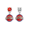 Detroit Pistons RED & CLEAR Swarovski Crystal Stud Rhinestone Earrings