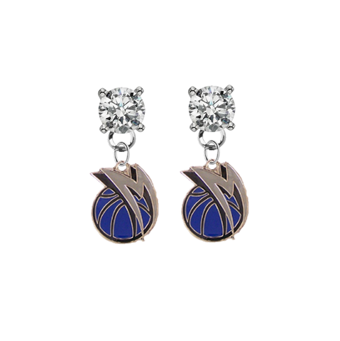 Dallas Mavericks CLEAR Swarovski Crystal Stud Rhinestone Earrings