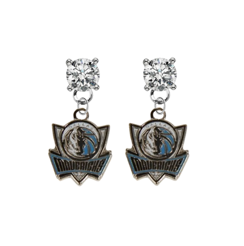 Dallas Mavericks Style 2 CLEAR Swarovski Crystal Stud Rhinestone Earrings