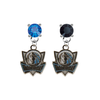 Dallas Mavericks Style 2 BLUE & BLACK Swarovski Crystal Stud Rhinestone Earrings
