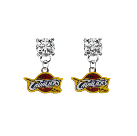 Cleveland Cavaliers CLEAR Swarovski Crystal Stud Rhinestone Earrings