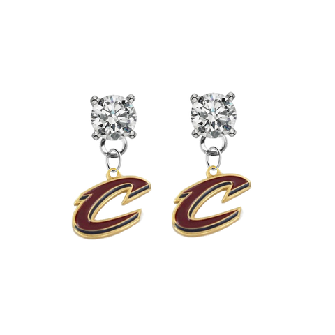 Cleveland Cavaliers Style 2 CLEAR Swarovski Crystal Stud Rhinestone Earrings