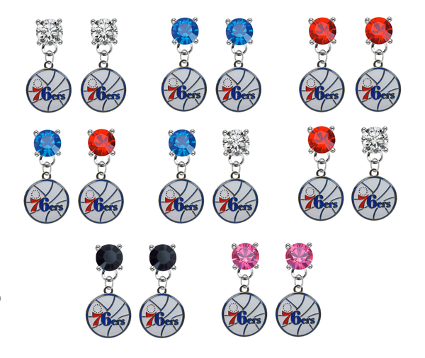Philadelphia 76ers NBA Swarovski Crystal Stud Rhinestone Earrings