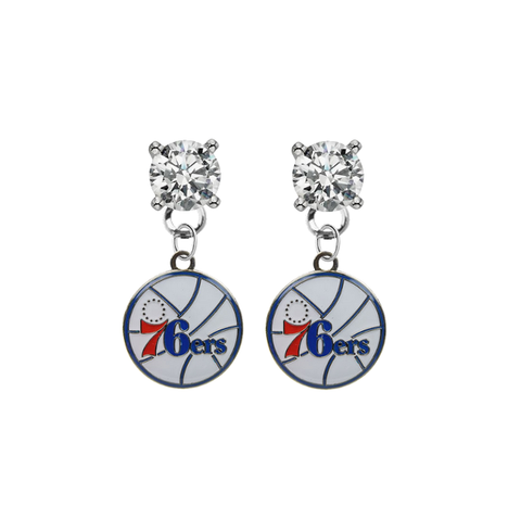 Philadelphia 76ers CLEAR Swarovski Crystal Stud Rhinestone Earrings