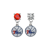 Philadelphia 76ers RED & CLEAR Swarovski Crystal Stud Rhinestone Earrings