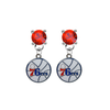 Philadelphia 76ers RED Swarovski Crystal Stud Rhinestone Earrings