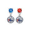 Philadelphia 76ers BLUE & RED Swarovski Crystal Stud Rhinestone Earrings