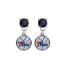 Philadelphia 76ers BLACK Swarovski Crystal Stud Rhinestone Earrings
