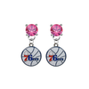 Philadelphia 76ers PINK Swarovski Crystal Stud Rhinestone Earrings