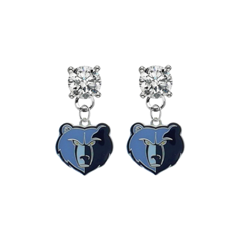 Memphis Grizzlies CLEAR Swarovski Crystal Stud Rhinestone Earrings