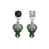Milwaukee Bucks BLACK & CLEAR Swarovski Crystal Stud Rhinestone Earrings