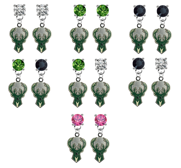Milwaukee Bucks NBA Swarovski Crystal Stud Rhinestone Earrings