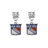 New York Rangers CLEAR Swarovski Crystal Stud Rhinestone Earrings