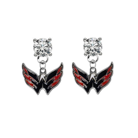 Washington Capitals CLEAR Swarovski Crystal Stud Rhinestone Earrings