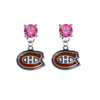 Montreal Canadiens PINK Swarovski Crystal Stud Rhinestone Earrings