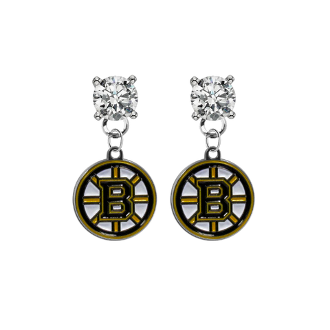 Boston Bruins CLEAR Swarovski Crystal Stud Rhinestone Earrings