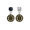 Boston Bruins BLACK & CLEAR Swarovski Crystal Stud Rhinestone Earrings