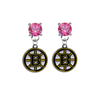 Boston Bruins PINK Swarovski Crystal Stud Rhinestone Earrings
