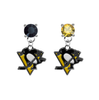 Pittsburgh Penguins BLACK & GOLD Swarovski Crystal Stud Rhinestone Earrings
