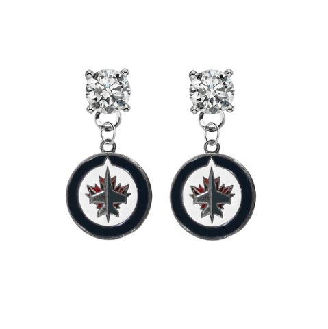 Winnipeg Jets CLEAR Swarovski Crystal Stud Rhinestone Earrings