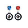 Winnipeg Jets BLUE & RED Swarovski Crystal Stud Rhinestone Earrings