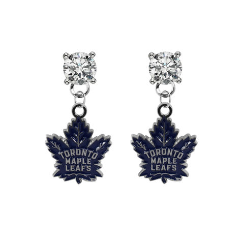 Toronto Maple Leafs CLEAR Swarovski Crystal Stud Rhinestone Earrings