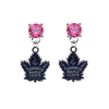 Toronto Maple Leafs PINK Swarovski Crystal Stud Rhinestone Earrings