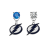 Tampa Bay Lightning BLUE & CLEAR Swarovski Crystal Stud Rhinestone Earrings
