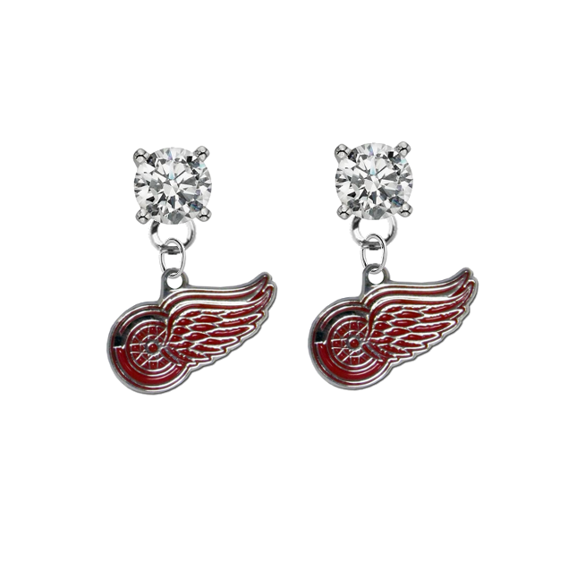 Detroit Red Wings CLEAR Swarovski Crystal Stud Rhinestone Earrings