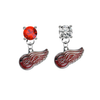 Detroit Red Wings RED & CLEAR Swarovski Crystal Stud Rhinestone Earrings