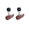 Detroit Red Wings BLACK Swarovski Crystal Stud Rhinestone Earrings