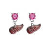 Detroit Red Wings PINK Swarovski Crystal Stud Rhinestone Earrings