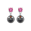 Edmonton Oilers PINK Swarovski Crystal Stud Rhinestone Earrings