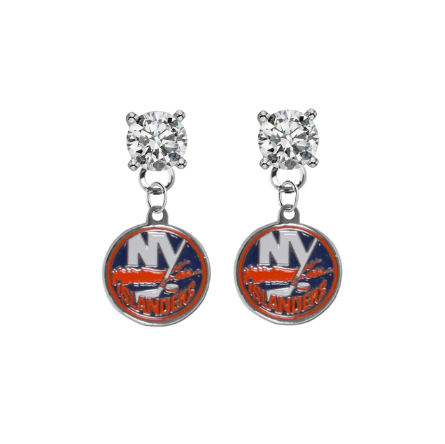 New York Islanders CLEAR Swarovski Crystal Stud Rhinestone Earrings