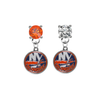 New York Islanders ORANGE & CLEAR Swarovski Crystal Stud Rhinestone Earrings