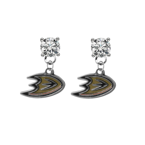 Anaheim Ducks CLEAR Swarovski Crystal Stud Rhinestone Earrings