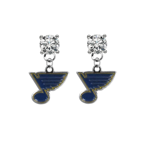 St Louis Blues CLEAR Swarovski Crystal Stud Rhinestone Earrings