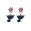 St Louis Blues PINK Swarovski Crystal Stud Rhinestone Earrings