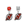 New Jersey Devils RED & CLEAR Swarovski Crystal Stud Rhinestone Earrings