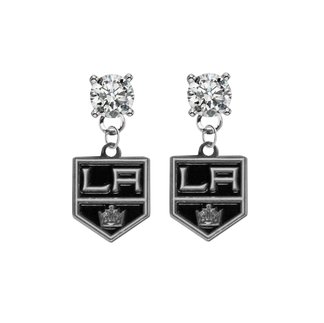 Los Angeles Kings CLEAR Swarovski Crystal Stud Rhinestone Earrings