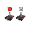 Minnesota Wild RED & CLEAR Swarovski Crystal Stud Rhinestone Earrings