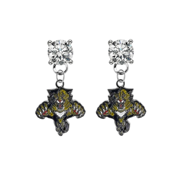 Florida Panthers CLEAR Swarovski Crystal Stud Rhinestone Earrings