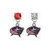 Columbus Blue Jackets RED & CLEAR Swarovski Crystal Stud Rhinestone Earrings